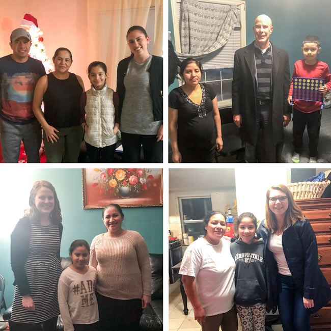 Collage of new mentor/mentee matches with their families